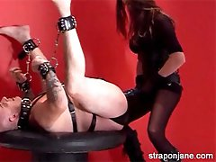 Strapon Jane punishes her sissy submissive and treats him like a dog.