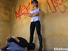 Before he goes to prison, I'm going to make this bitch suffer! In this video I handcuff my slave and have him clean my boots using his tongue, bu